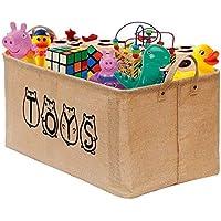 GIMARS 収納ボックス toys収納 おもちゃ収納 折り畳み式 ポータブル収納ボックスバスケット おしゃれ ジュート 麻綿 (カーキ) 子供用品