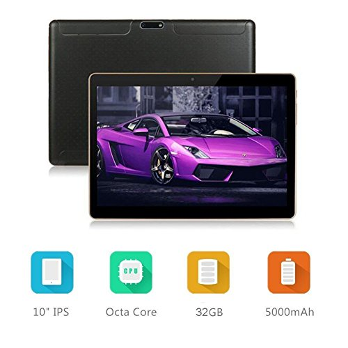 10.1 インチ タブレットPC tablet pc アンドロイド6.0 クアッドコア 2GB+32GB デュアルSIMスロット 3G通話MIDPad IPS液晶 WI-FI、bluetooth 4.0、GPS搭載 日本語対応 (黒)