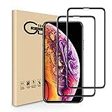 【2枚セット】iPhone Xs Max全面保護フィルム 液晶強化ガラス アイフォンXsMax保護フィルム 全面フルカバー 硬度9H 存在感ゼロ 高透過率 3D Touch対応 気泡防止 貼り付け簡単6.5インチ(iPhoneXsMax,ブラック)