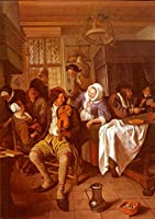 ¥5K-200k 手書き-キャンバスの油絵 - 美術大学の先生直筆 - Interior Of A Tavern Dutch genre painter Jan Steen 絵画 洋画 複製画 ウォールアートデコレーション -サイズ08