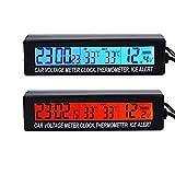 TOWOTO 3IN1 多機能 車載時計 時刻 車内/外温度 電圧 LED表示画面モニター アラーム付き バックライト切替可能 12V/24V対応