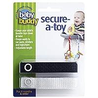 Baby Buddy セキュア-ア-トイ、安全ストラップでおもちゃやおしゃぶりをベビーカー、ハイチェア、車のシートに固定、おもちゃを清潔に保つために長さ調節可能 ブラック-ホワイト カウント ブラック/ホワイト
