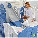 Premium Quality 148x173cm Baby Kids Playpen Toddler Baby Safety Gate Room Home Indoor (Pink Playpen + Slide)