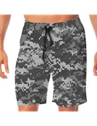 メンズ水着 ビーチショーツ ショートパンツ グレイピクセルグリッド迷彩プリント スイムショーツ サーフトランクス 速乾 水陸両用 調節可能