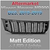 Tunez NEW Matt Black Grille Mesh For Aftermarket Navara NP300 D23 White LED Light 2015-2019 Grill Matte Truck (White LED, Bla