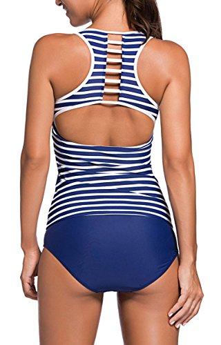 (チェイスシークレット)ChaseSecretレディース水着タンキニフィットネス体型カバー競泳水着スポーツサーフパンツセパレート2点セット大きいサイズブルーホワイトMサイズ