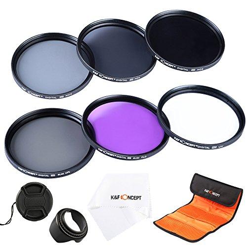 カメラフィルター 62mm、K&F Concept® 62mmフィルターキット(UV CPL FLD ND2 ND4 ND8)保護フィルター 62mm UV レンズ保護と紫外線吸収用 PLフィルター 反射除去用 超薄型FLDフィルター 蛍光灯補正 NDフィルターキット減光フィルター光量調節用 ND2 ND4 ND8 3枚 クリーニングクロス 花形レンズフード レンズキャップ フィルターレンズケース