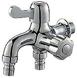 水栓 2口 蛇口 横水栓 ワンタッチ ワンハンドル 継ぎ手 洗濯機 ホース や ガーデニング に