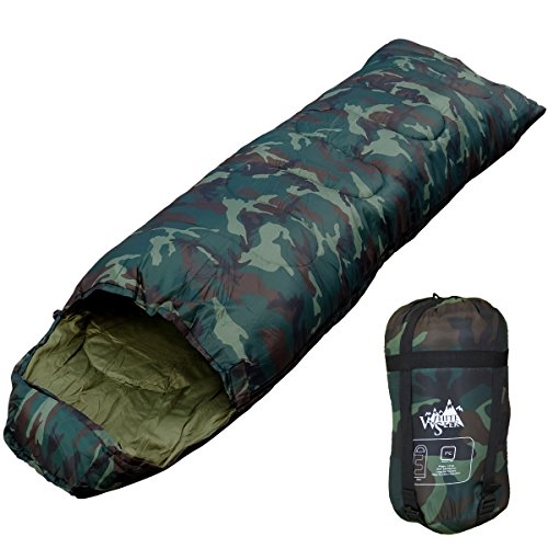 WhiteSeek 寝袋 シュラフ 封筒型 【最低使用温度7℃ 1000g】 (NEW迷彩)