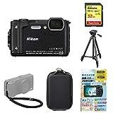 Nikon デジタルカメラ COOLPIX W300 BK クールピクス ブラック 防水 + アクセサリー5点セット(SDカード 32GB、液晶保護フィルム、カメラケース、編込みストラップ、三脚)