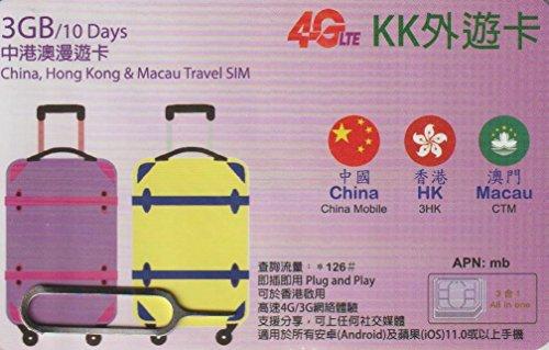 【KK】中国 香港 澳門 3ヶ国 4G-LTE/3G 10日...