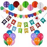 Funpa ガーランド 風船 紙ポンポン 30cm 22点 誕生日 お祝い パーティー デコレーション 掛け飾り 紙 ラテックス