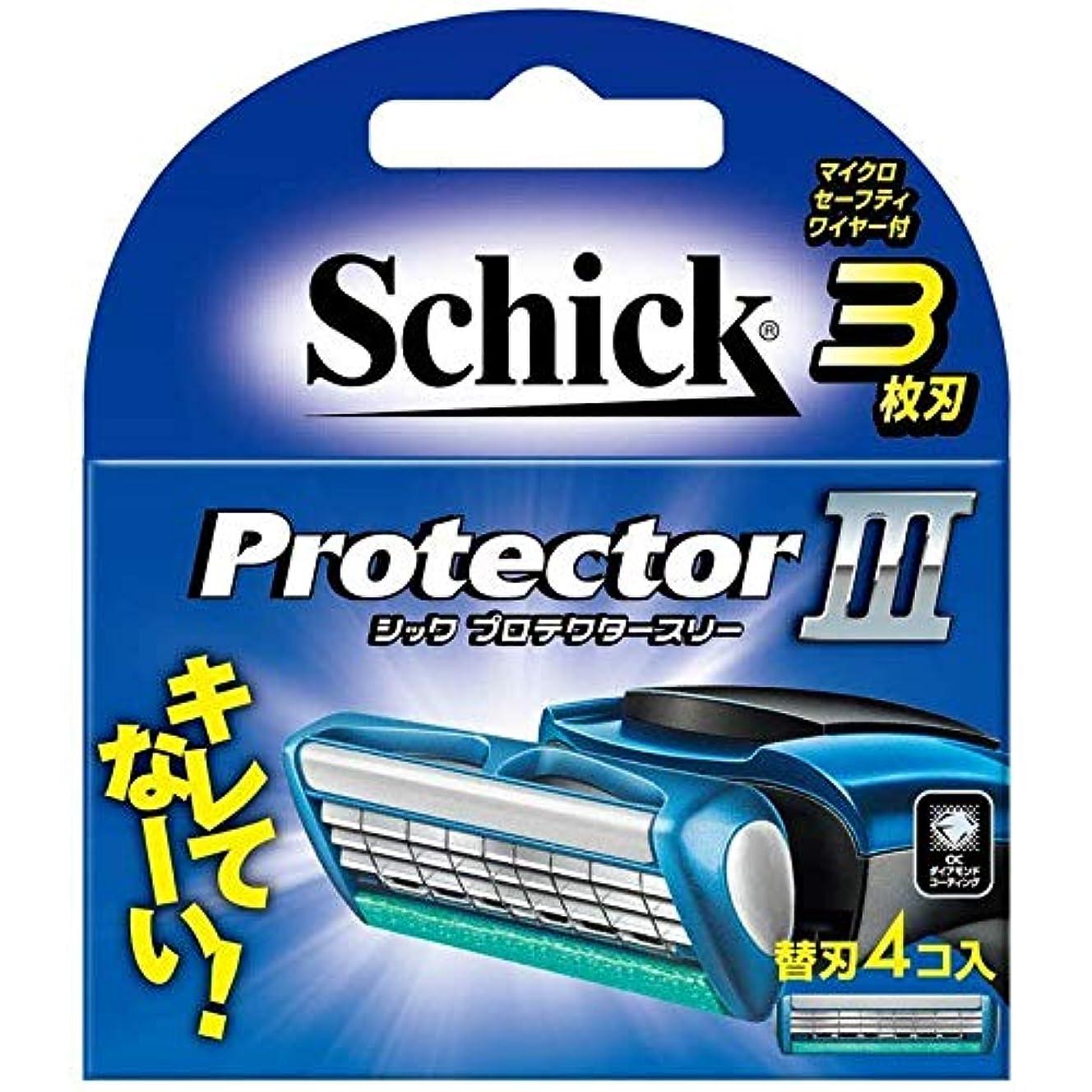 不健康著名な美人シック プロテクタースリー 替刃 (4コ入) 男性用カミソリ 3個セット