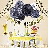 誕生日 飾り付け セット 誕生日 飾り 超豪華 バースデー デコレーション HAPPY BIRTHDAYガーランド ペーパーファン テープ付き 風船とクラウン贈呈 (ブラック+ゴールド)