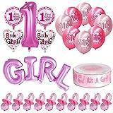 ハート風船 Migavan 最初の誕生日パーティー用品誕生日ケーキ 飾り女の赤ちゃん最初の1誕生日用風船パーティーの装飾用品セット100ピースおしゃぶり