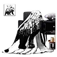 ZXAWTブランド黒熊の峰薄い片面印刷の図案、ベッドとソファーの全季のマイクロファイバーの毛布(幅90CM * 長い150CM)