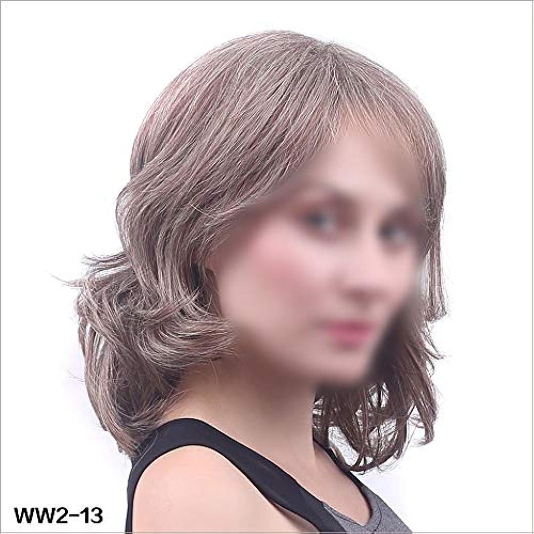 口約バックWASAIO スタイルの交換のための新しい人気の女性の短いかつらアクセサリー完全なウェーブのかかった巻き毛グレーレディース (色 : Photo color, サイズ : 45cm)