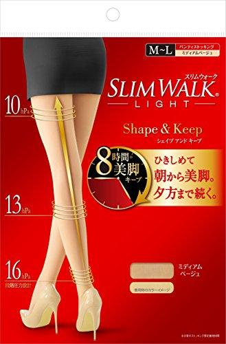 スリムウォーク (SLIM WALK) シェイプアンドキープ(Shape&Keep) パンティストッキング ミディアムベージュ ...