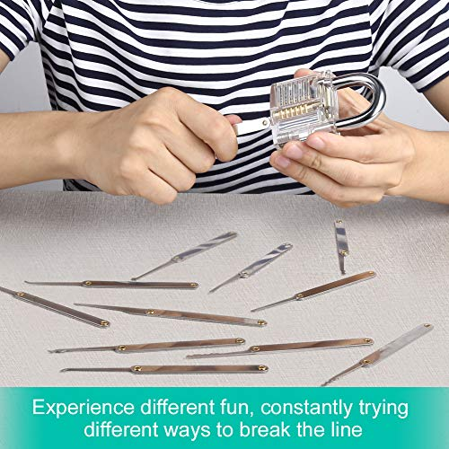 GHB Lock Pick Set Lockpick Locksmith Tools Professional Extractor Tools with 1 Transparent Exercise Padlocks and 2 keys
