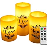 EGI - Set of 3 Flickering Flameless Candles With Remote Control and Timer - Romantic Led Candles - With Live Love Laugh Decal