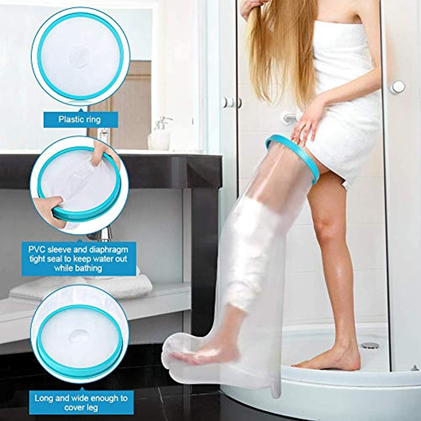 まだマンモス懺悔シャワー、防水シールタイト大人脚キャストとシャワー、お風呂用包帯プロテクターとホット浴槽用脚キャストカバー