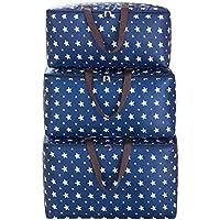 ラージ3PCS収納袋ブルースターパターンポータブルフォールディングオックスフォード布トラベルオーガナイザー防水防湿キルト収納衣類移動仕上げ荷物預かり袋3個/セット