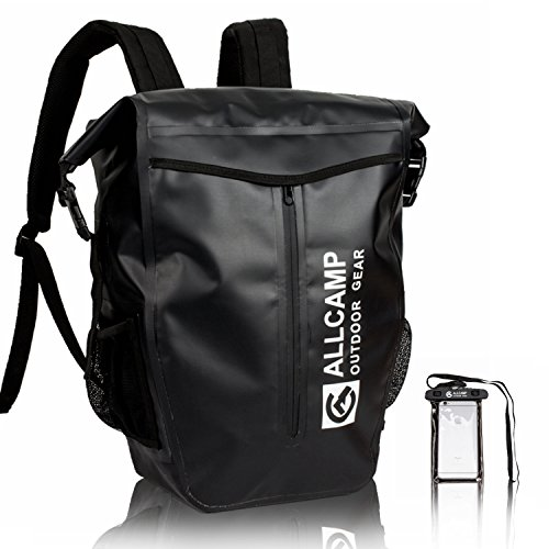 ALLCAMP 防水バッグ リュック 釣り 大容量 30L 登山用 旅行 通勤 通学 アウトドア ブラック(付属品:スマホ用防水ポーチ)