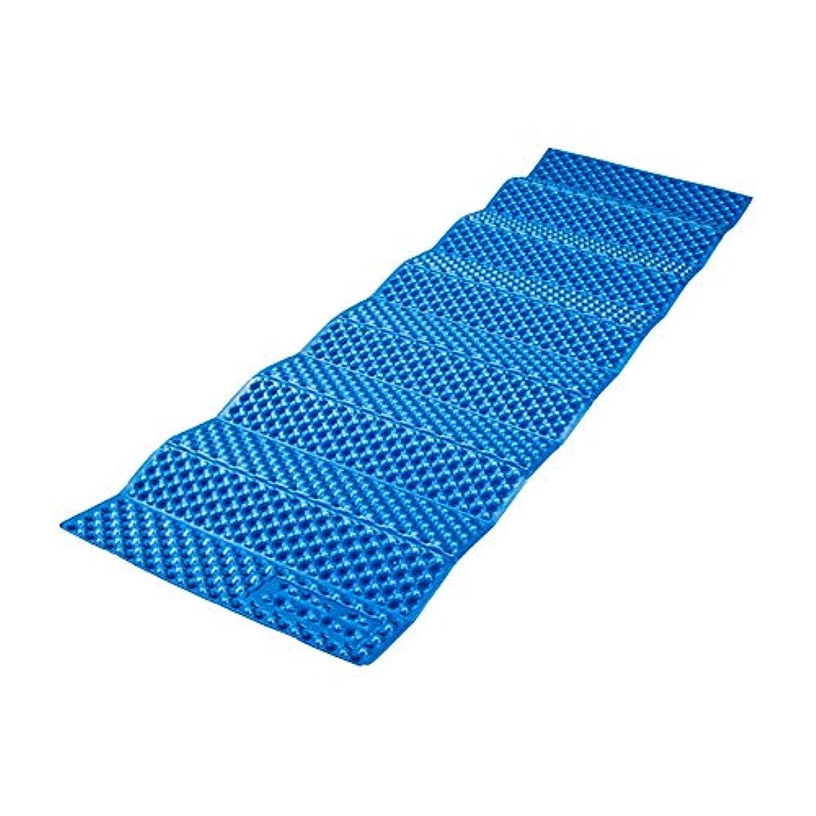 七面鳥カートリッジ番号寝袋アウトドアアウトドアブッシュスリーシーズンキャンプ シングル屋外マット厚いアルミフィルム折りたたみポータブルシエスタマットランチブレイクキャンプテントマット で利用できる単一の二重色 (色 : 青)