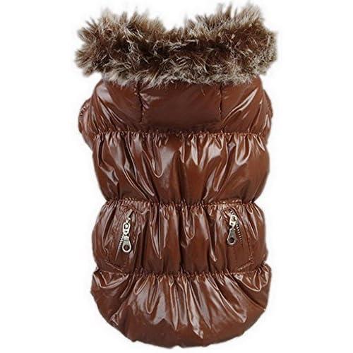 EOZY ペット服 冬 犬服 犬コート オーバーオール パーカー ワンちゃん 可愛い 洋服 ダウンジャケット 防水 あったかい 綿服 コーヒー色 (XL)
