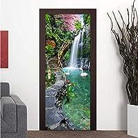 Xbwy 写真の壁紙3Dの滝森の風景壁画リビングルームの寝室のドアのステッカーDiyの家の装飾の壁紙3 D-350X250Cm