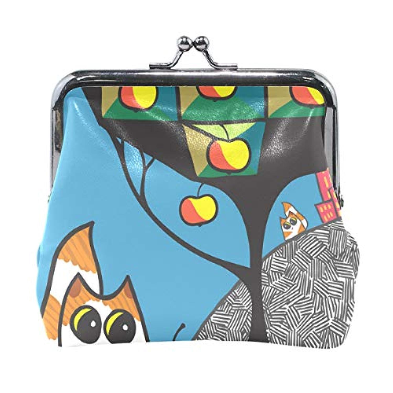 AOMOKI 財布 小銭入れ ガマ口 コインケース レディース メンズ レザー 丸形 おしゃれ プレゼント ギフト オリジナル 小物ケース 猫柄 幾何学模様 リンゴ