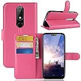 Nokia 6.1 Plus ホルスター シェル フリップ, Moonmini カバー Suit プレミアム 垂直 レザー ポーチ スリーブ 携帯 シェル シェル 〜と カード スロット ホルスター の Nokia 6.1 Plus (Rosy)
