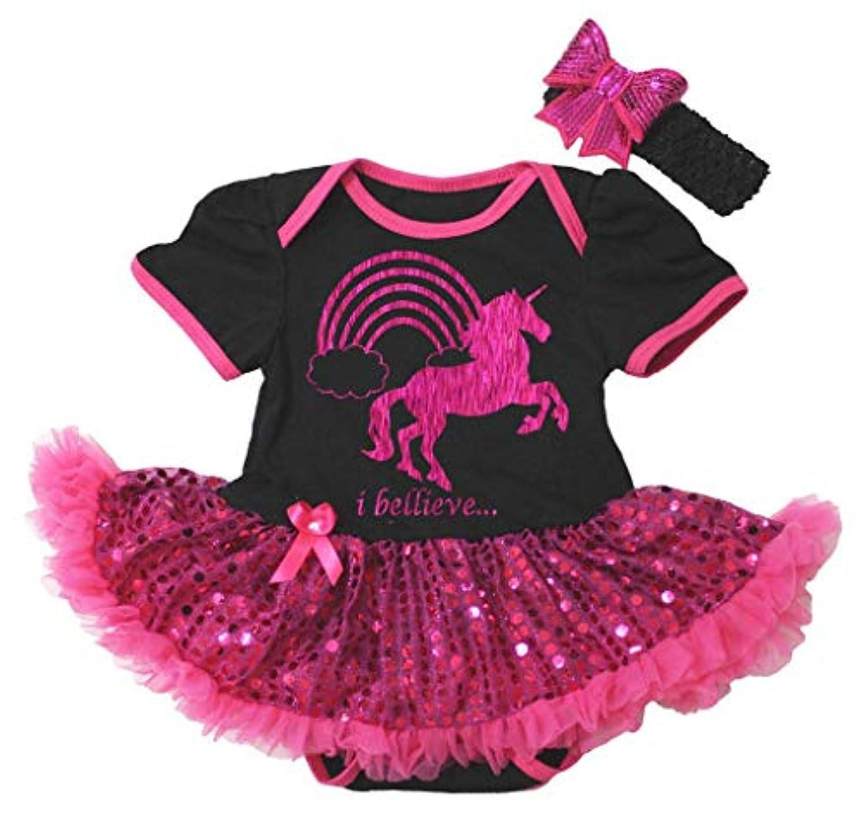 バンジージャンプ騒々しい惑星[キッズコーナー] I Believe Unicorn ユニコーン ブラック ボディスーツ ホトピンクのスパンコール 子供のチュチ、コスチューム、子供のチュチュ、ベビー服、女の子のワンピースドレス Nb-18m (ブラック, Medium) [並行輸入品]
