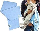 ForNeat 抜群の吸水力!ペット用タオル マイクロ ファイバー 犬 猫 体拭き タオル (40cmX100cm ブルー)