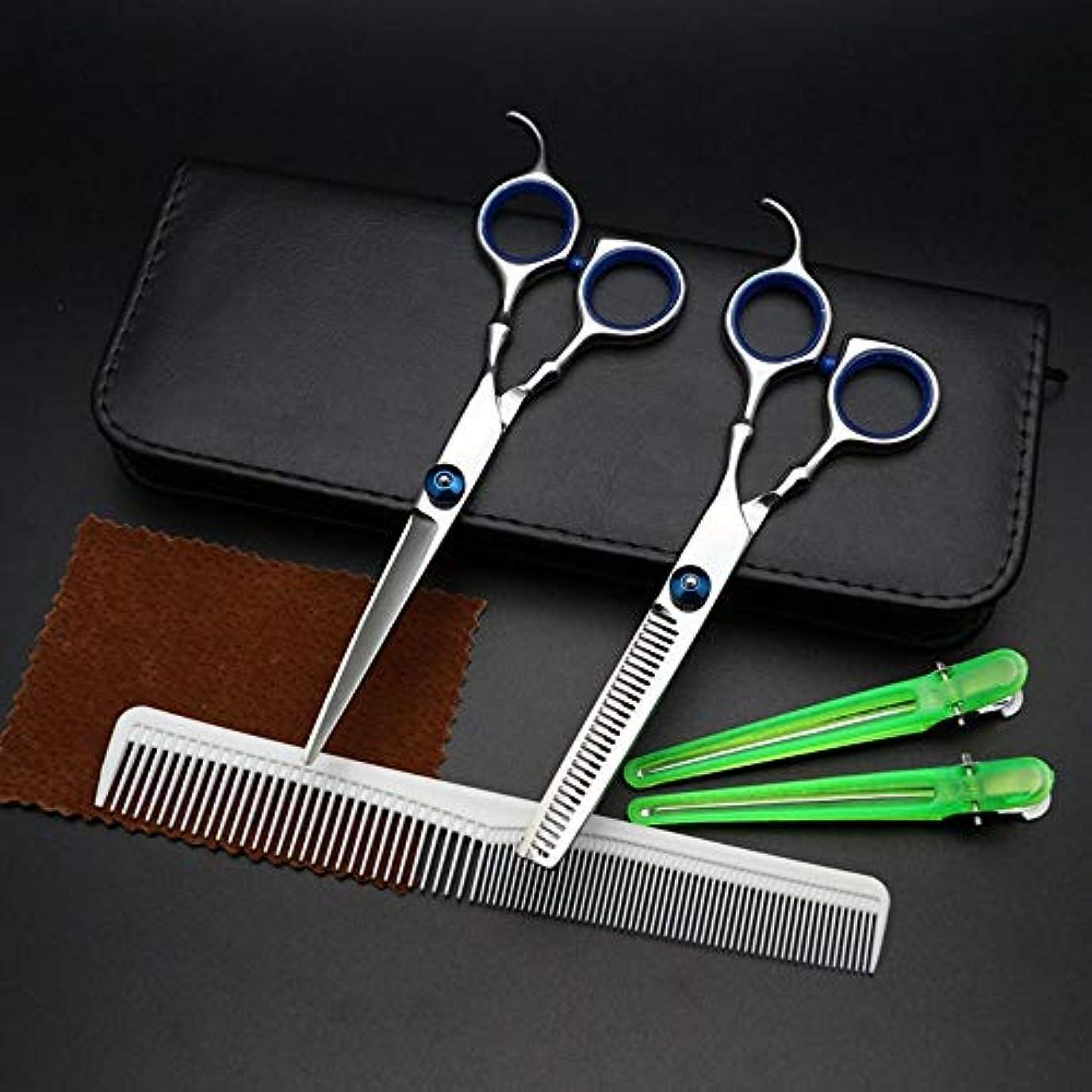前任者ファイアルウィンク6インチ美容院プロフェッショナル理髪セットフラットシアー+歯はさみセット モデリングツール (色 : Silver)