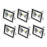 SEIKOH LED投光器 50W 白色 6000K 電源コード 3M 広角 防水 6個セット A42DSET6