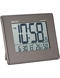 セイコー クロック 目覚まし時計 電波 デジタル 掛置兼用 カレンダー 温度 湿度 表示 大型画面 黒 メタリック SQ770K SEIKO