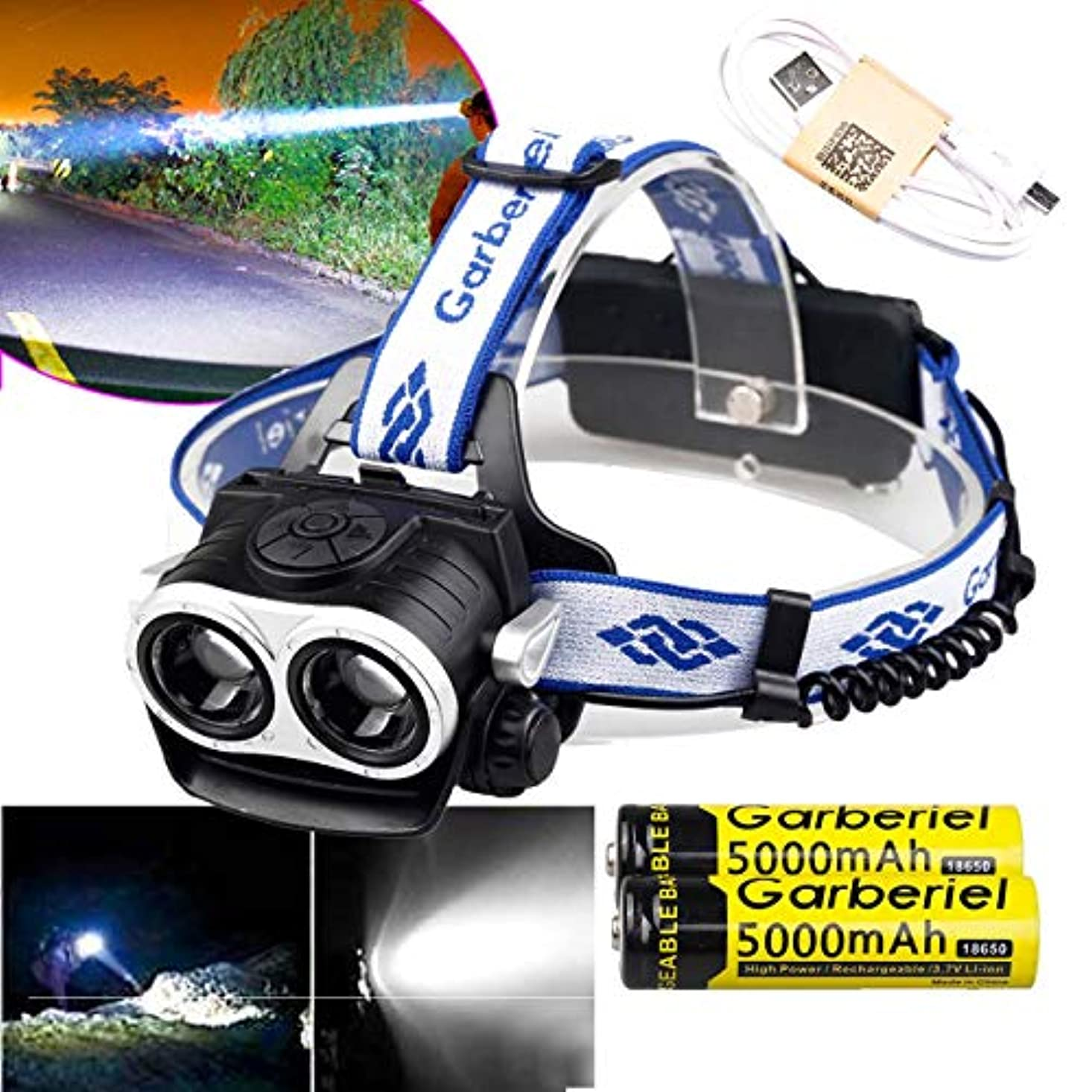 なぜスリチンモイマトリックス超明るい3500ルーメン2球根LEDヘッドランプ防水調節可能なフォーカスヘッドライトとバッテリー、充電器