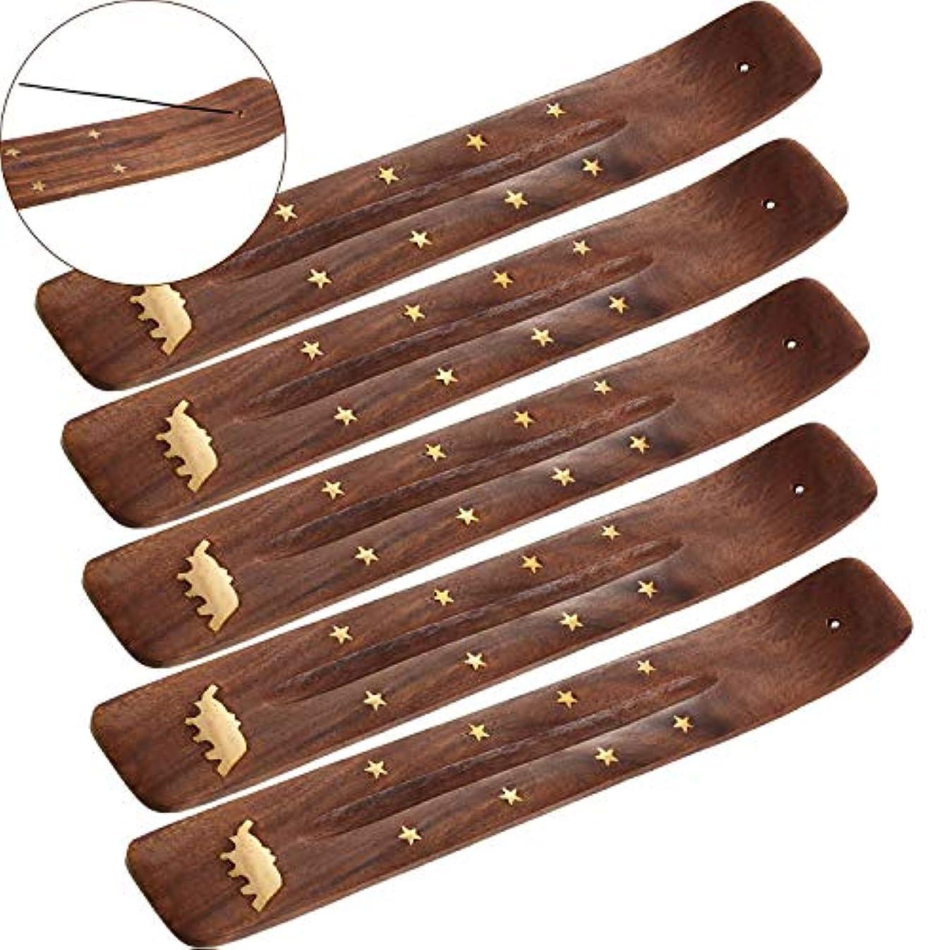 かる支払い小道Boao お香立て 5本セット 灰受け 9.06インチの長さ ブラウン Boao-Bamboo Incense Holder-01