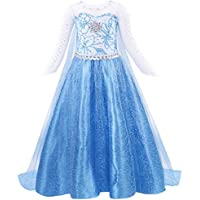 AmzBarley Girls Princess Elsa Fancy Dress Sequin Snowflake Cape Birthday Party Halloween Costume Dress Up Outfit