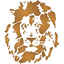 Lion Head Stencil - 35.5 x 40.5cm (L) - Reusable African Big Cat Animal Wildlife Stencils for Painting - Use on Paper Projects Scrapbook Journal Walls Floors Fabric Furniture Glass Wood etc.