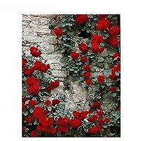 咲くバラdiy絵画刺繍クロスステッチホームルーム装飾抽象オイルウッドフレーム子供大人アート