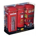 英国 イングリッシュ・ティー・セレクション ロンドンバス 郵便ポスト 電話ボックス 貯金箱 3缶セット 紅茶 42ティーバッグ [並行輸入品]