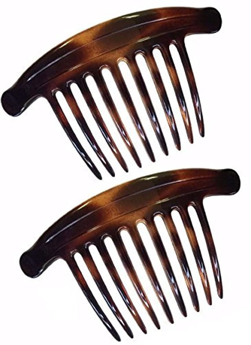 外観髄経度Parcelona French Lip Interlocking 9 Teeth 4.5 Inch Large Cellulose Tortoise Shell Side Hair Combs [並行輸入品]