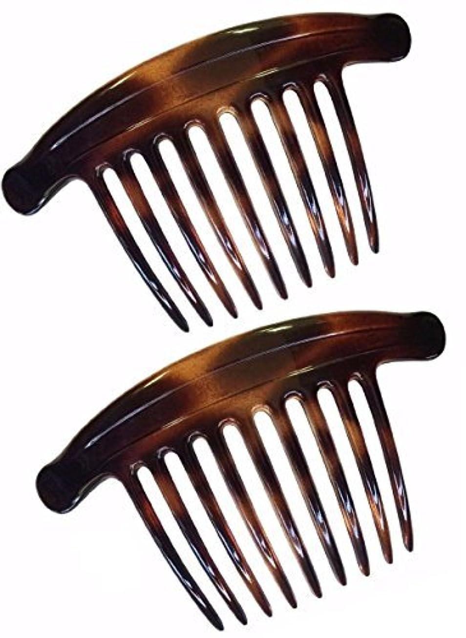 準備鮫文字通りParcelona French Lip Interlocking 9 Teeth 4.5 Inch Large Cellulose Tortoise Shell Side Hair Combs [並行輸入品]
