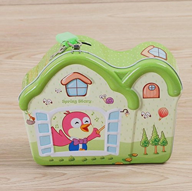 マネー バンク ティンプレートピギーバンク創造的な子供の家の装飾のスナックストレージボックス(グリーン)