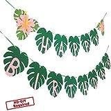 ハワイアン パーティー ハッピーバースデー バナー トロピカルルアウパーティー ヤシの葉のデコレーション