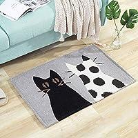 ドアマット フロアマット - ポリエステルシェニール/不織布プラスチックポイント、湿気を遮断、インスタント吸水、漫画のベッドルームポーチバルコニードアマットドアマット - 4スタイルあり (色 : Black cat)