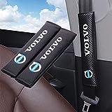 Limkcoシートベルトカバー 車の安全シートベルトショルダー Volvoボルボの、カーボンファイバーカーシートベルトショルダーストラップパッド 2個セット 各車種汎用