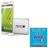 モトローラ スマートフォン Moto X Play ホワイト&BIGLOBE SIM エントリーパッケージ ドコモ対応SIMカード データ通信/音声通話 (ナノ/マイクロ/標準SIM)[iPhone/Android] 最大 20,000円キャッシュバック EP-1